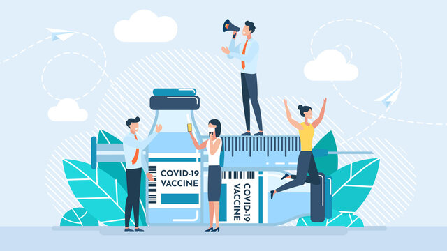 Vaccine Covid-19. Patient doubts to be vaccinated. Doctors call for vaccination. Flat illustration. Covid-19 corona virus vaccination with vaccine bottle and syringe injection tool for covid19