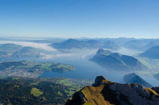 View From Pilatus Towards Luzern Lake And