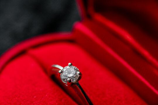 Close-up Of Red Ring Box With Diamond Ring