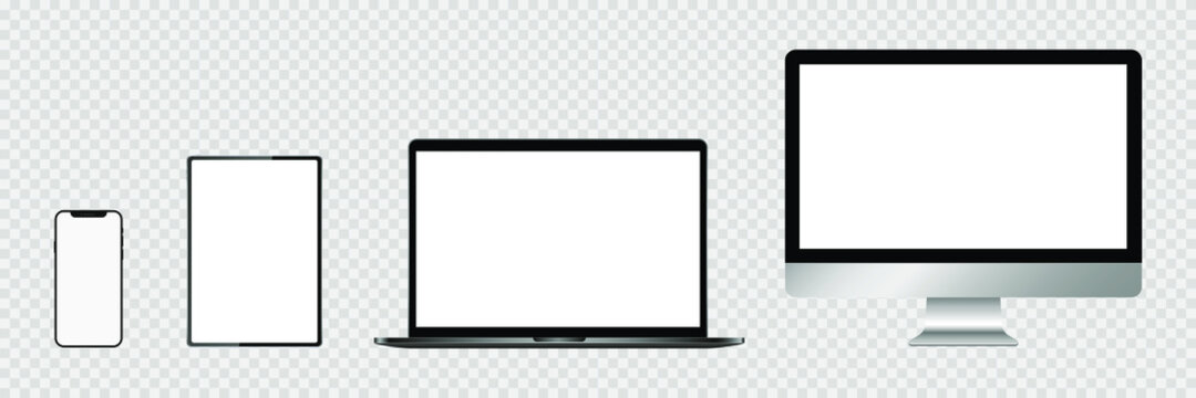 Realistic set of monitor, laptop, tablet, smartphone. Stock Vector illustration.