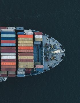High Angle View Of A Ship Sailing