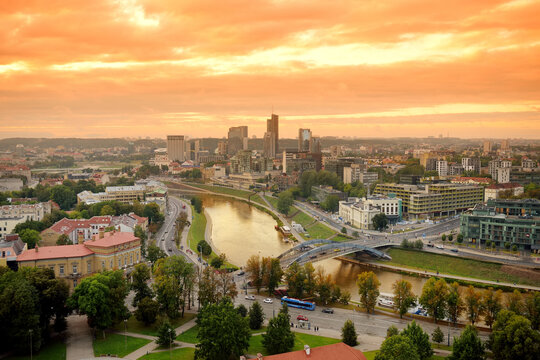 Beautiful panorama of Vilnius old town taken from the Gediminas hill. Nice sunny sunset in Lithuania's capital.
