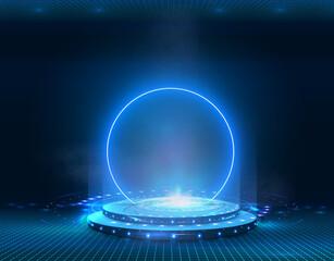 Portal and hologram futuristic Neon color circle elements. Standard podium or studio futuristic pedestal round platform showroom. Magic circle teleport stand. Cyberpunk style Technology demonstration - fototapety na wymiar