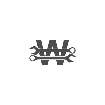 Letter W logo icon with wrench design vector