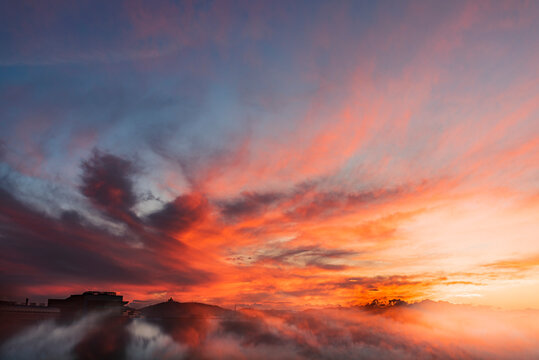 Autumn Sunset And Its Reflection - Clouds And Sky