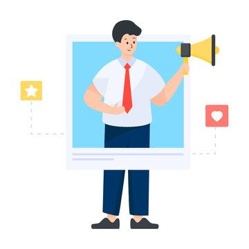 A brand ambassador person flat illustration