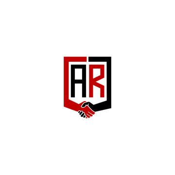 ar logo hand deal  design vector icon