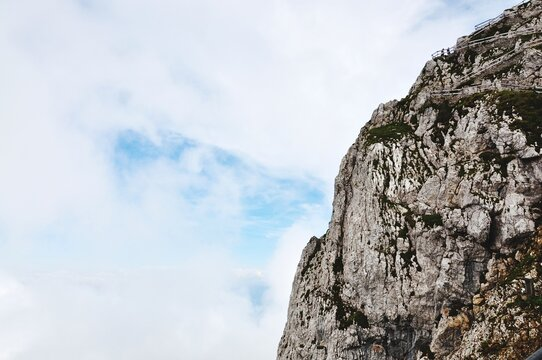 Low Angle View Of Rock Formation Against Sky In Pilatus.