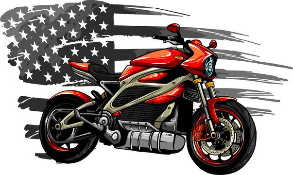 motorbike with american flag vector illustration design