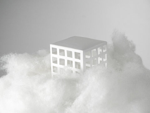 Digital Composite Image Of Building And Tree Against Sky