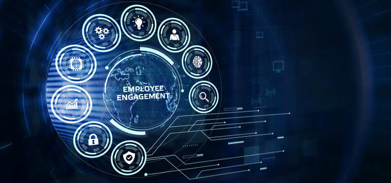 Business, Technology, Internet and network concept. virtual screen of the future and sees the inscription: Employee engagement