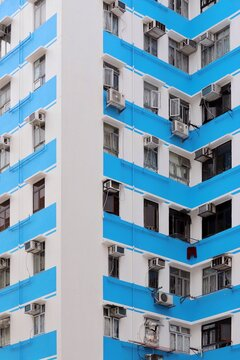 White And Blue Urban Geometry In Hong Kong