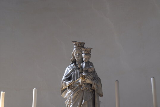 Low Angle View Of Statue, Madonna With Child