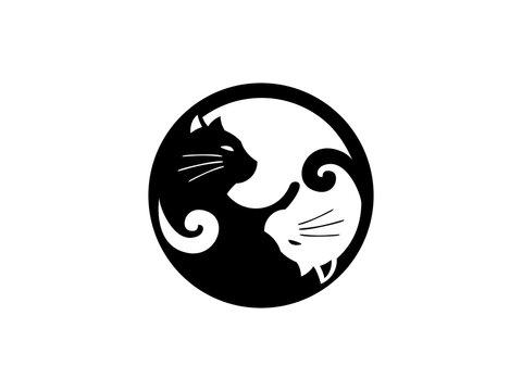 Two cat with shape yin yang