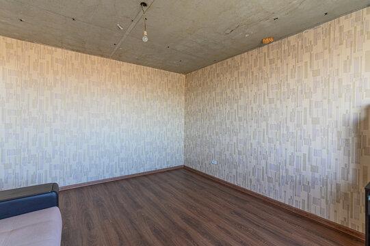 Empty Wooden Floor Against Wall