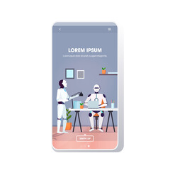Wall Mural - modern robots team using laptop robotic coworkers brainstorming at workplace artificial intelligence technology concept modern office interior smartphone screen mobile app full length copy space