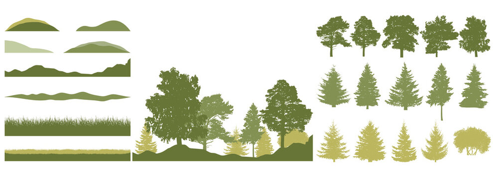 Spring season, constructor kit of trees, grass, hill. Beautiful silhouettes of spruce and pine and coniferous trees and birch, etc. Set of design elements. Vector illustration.