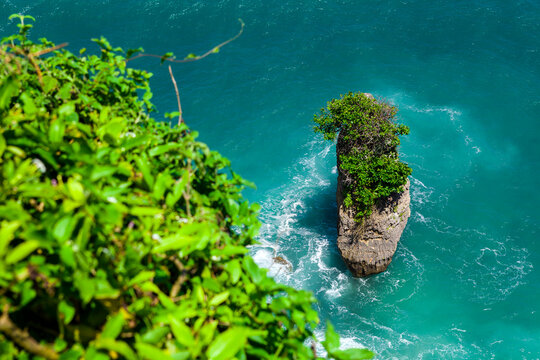 Rock Sea And Wave At Pura Uluwatu Temple, Bali, Indonesia