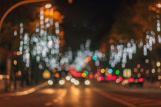 City At Night. Abstract Bokeh City Lights Background