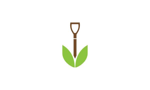 flat shovel with leaf agriculture logo vector symbol icon design illustration