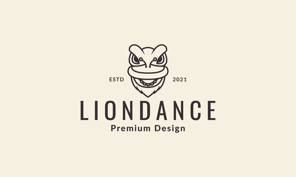 head cute lines lion dance logo vector symbol icon design illustration