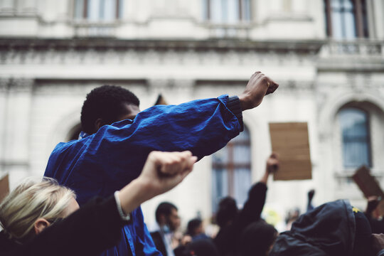 Black Lives Matter Protester Raised Fist Blm