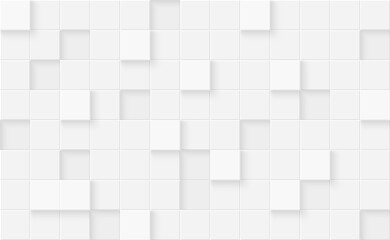 Obraz 3d seamless cubes pattern. White ceramic tile background. Abstract square mosaic. - fototapety do salonu