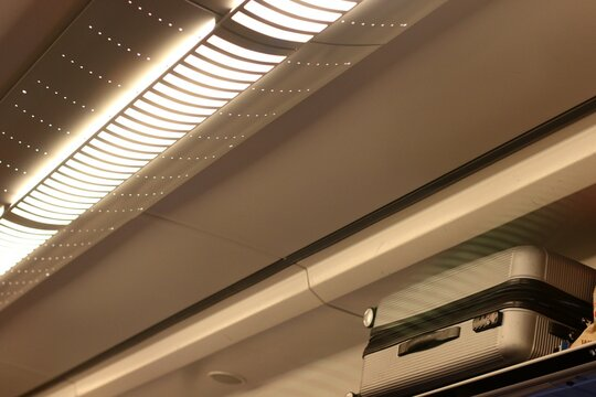 Low Angle View Of Luggage Rack On Train