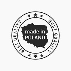 Obraz Etykieta znak oznaczenie made in Poland, wyprodukowane w Polsce na opakowania. Wektor projekt. Best quality. - fototapety do salonu