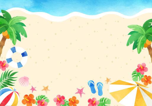 夏のトロピカルなベクターイラストフレーム背景(風景)コピースペース