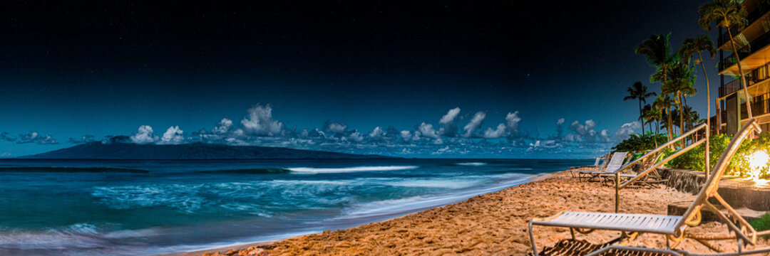 View Of Beach Against Blue Sky At Night