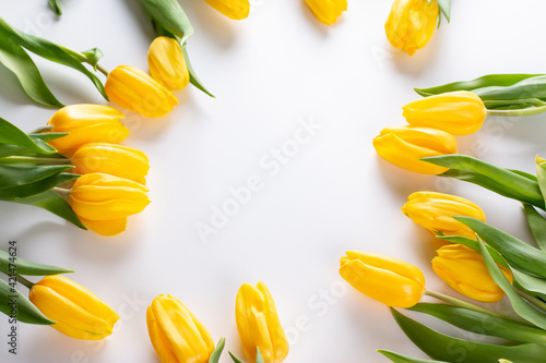 A bouquet of yellow tulips. A greeting card. Delicate flowers. Happy Easter. Valentine's day. Birthday celebration. March 8. Mother's Day. Copy space