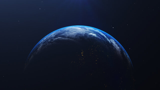 Close-up Of Blue Earth Against Sky At Night