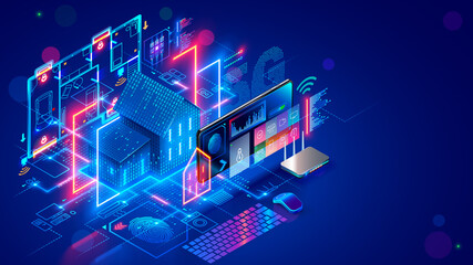 Obraz Smart home system develop. Internet of things. Engineering design digital infrastructure of house, configuration scripting of work smart devices. Phone app control IOT through 5g internet connection. - fototapety do salonu