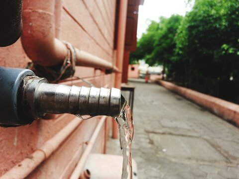 Close-up Of Water Leaking From Pipe Without Tap