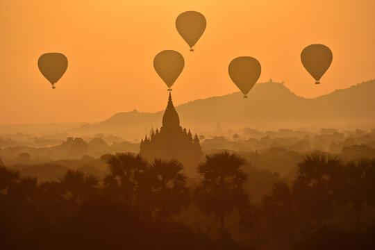 Hot Air Balloons Against Sky During Sunset, Bagan Myanmar
