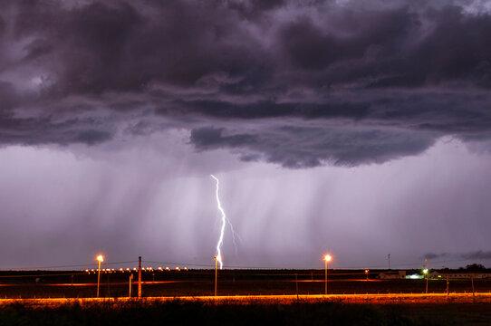 Panoramic View Of Lightning At Night