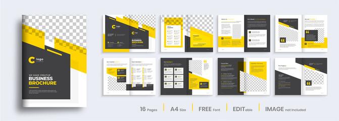 Obraz Brochure template layout design, minimal business brochure orange color shape design, annual report, company profile, editable template layout. - fototapety do salonu