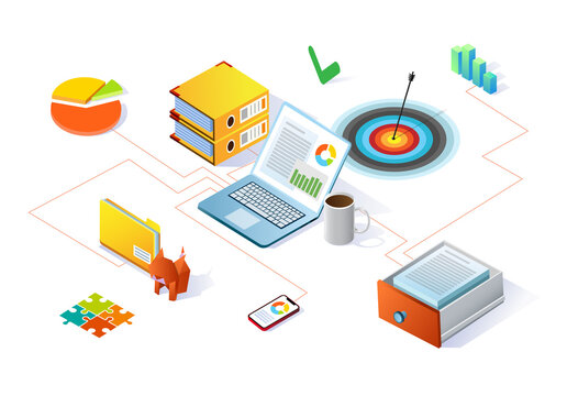 Isometric illustration on business system integration and business process automation using software. Workplace and data visualization.