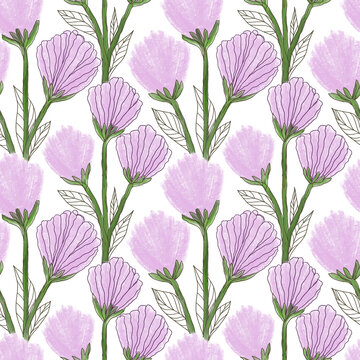 Hand painted seamless pattern with wild plants and light purple flowers. Abstract flowers on white background, nature illustration for textile, wrapping paper. Stock illustration.