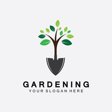 Gardening logo with shovel icon and tree with green leaves logo template.