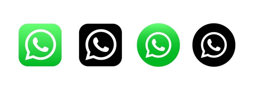 Set of Whatsapp icons. Social media icons. Realistic whatsapp set. UI UX white user interface. Logo. Kiev, Ukraine - March 19, 2021