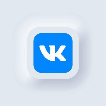 Set of Vkontakte icons. Social media icons. Realistic set. Neumorphic UI UX white user interface. Neumorphism style. Kiev, Ukraine - March 19, 2021