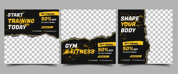 Obraz Social media post template design set for gym and fitness. Black background with abstract yellow shape. Vector design with place for photo. Suitable for social media, flyers, banner, and web internet. - fototapety do salonu