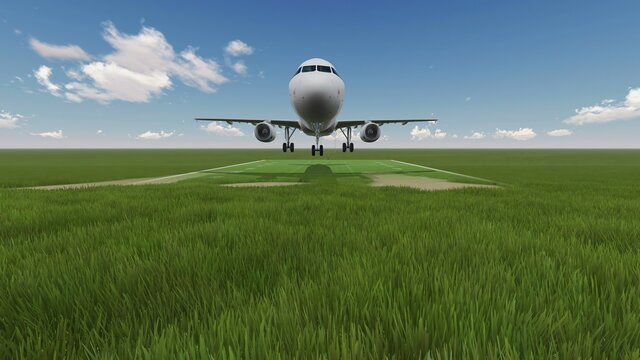 3D illustration - cinemagraph -  green field with airplane in background