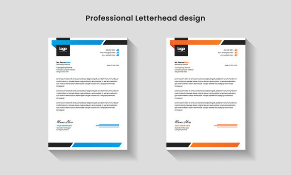 professional modern creative abstract clean colorful letterhead design template