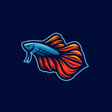 beautiful red and blue betta fish fighter guppy logo mascot design Vector esport modern Illustration isolated on dark background