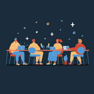 Vector illustration of conferencing and talking people at big table on dark backround. Man and woman make record for blogging, podcast or education project on white backround.