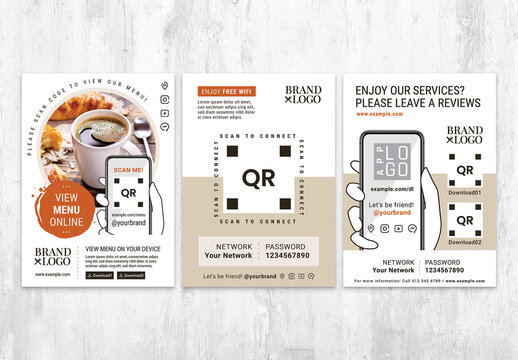 QR Code Flyer Templates for Menu Free Wi-Fi and Reviews