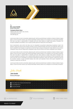 Letterhead template business. Business letterhead template, modern with black and gold shapes with ornament. Ready to Print.